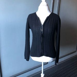 Cynthia Rowley zip up cardigan with leather trim
